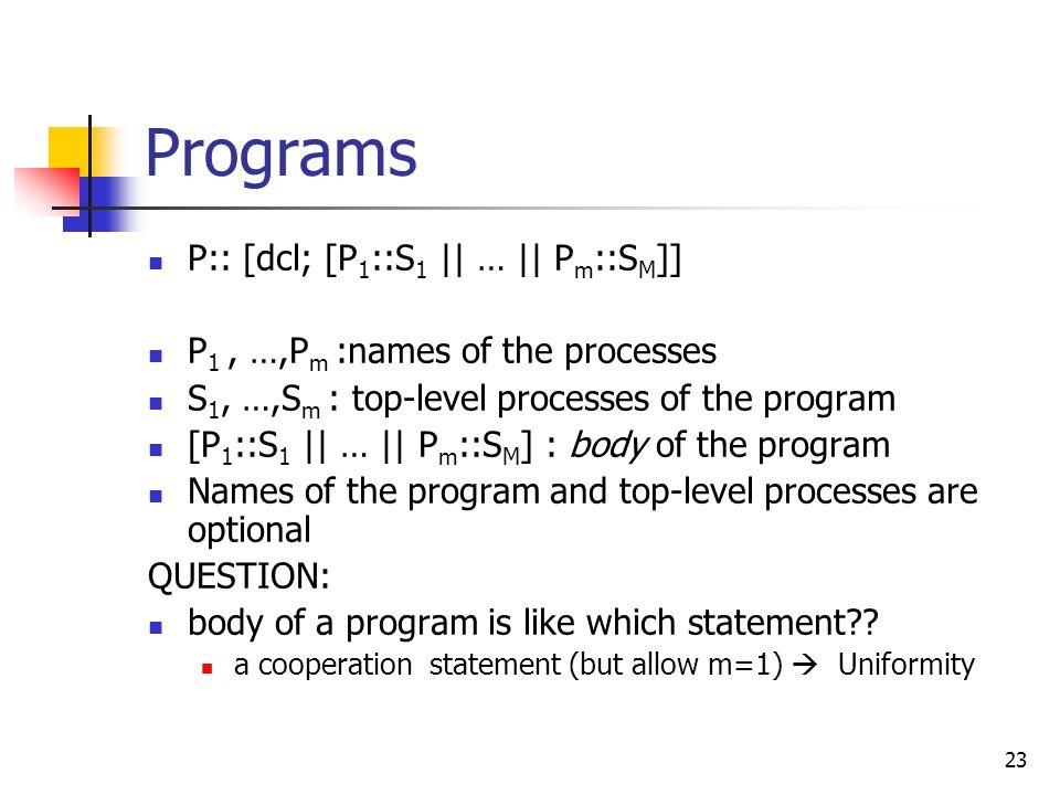 Programs P:: [dcl; [P1::S1 || … || Pm::SM]]